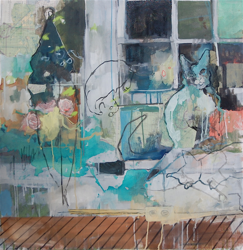 The Apartment,  Oil, collage, and mixed media on canvas, 2008
