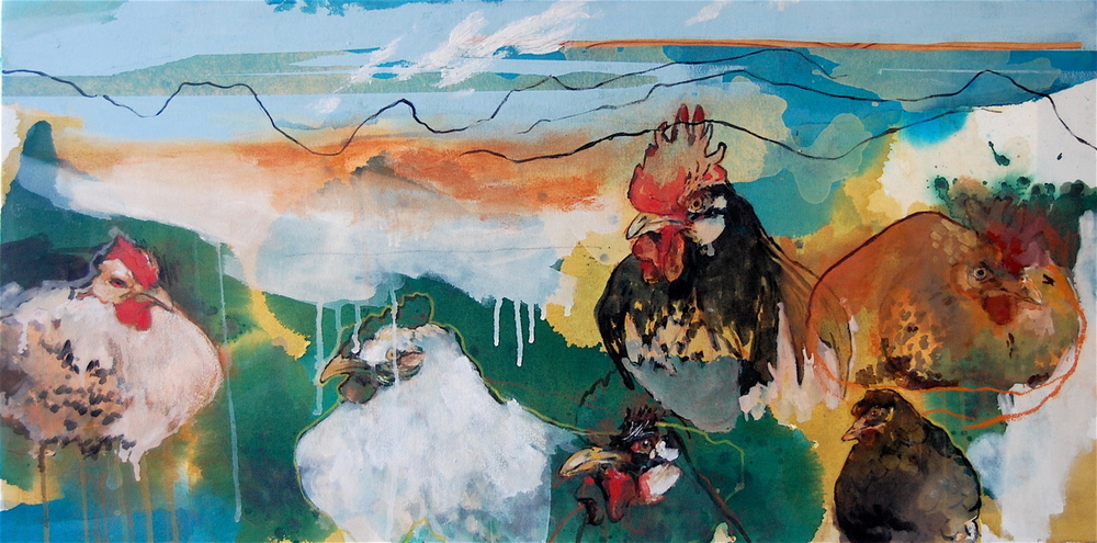 Roost,  Oil and mixed media on canvas, 2009