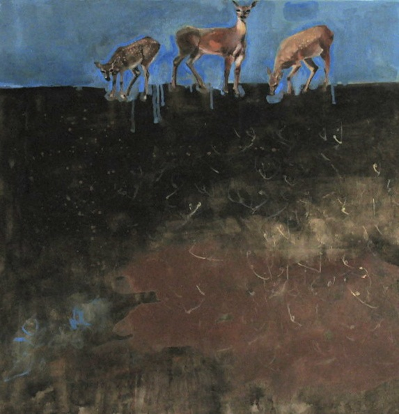 He Fed Them Wonderbread,  Oil and mixed media on canvas, 2007