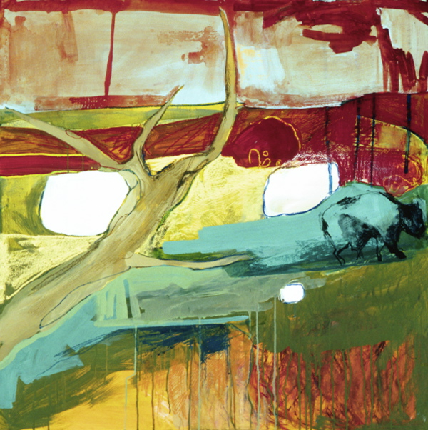 Portrait of the Land in Yellow,  Oil and mixed media on board, 2006
