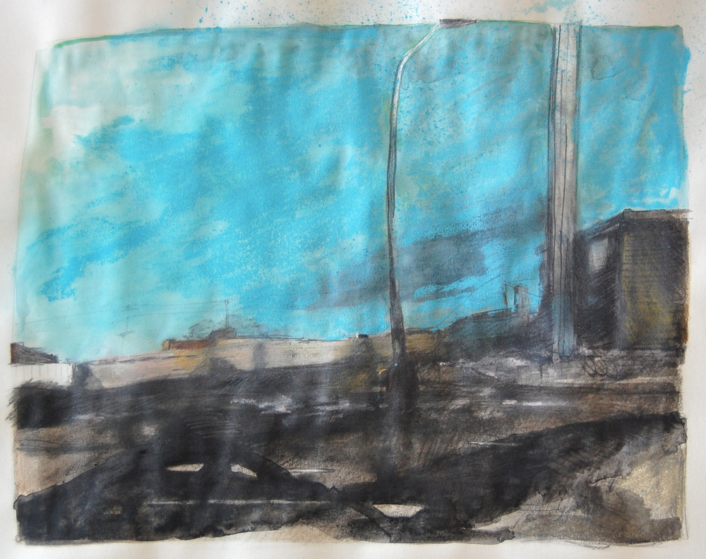 Passing Trains , mixed media on paper