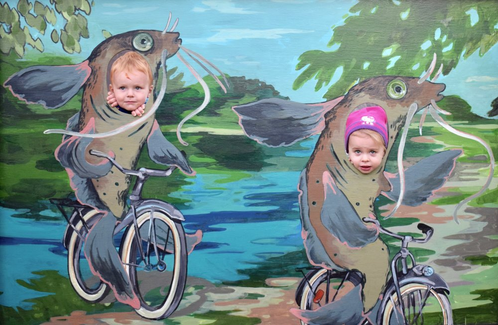 Loeb Lake Channel Cats Acrylic on wood panel 4' x 6' (More information about this project can be found  here )