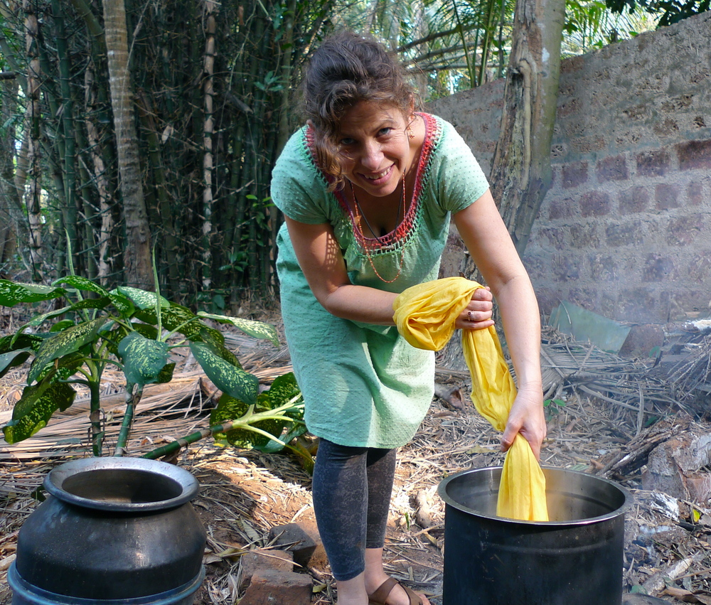 Dyeing with jackfruit at Tasara in Calicut, Kerala, India.