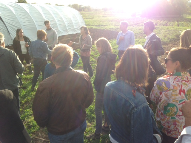 Alison giving a tour before Sauce and Bread's Farm-to-Table dinner held at the farm.