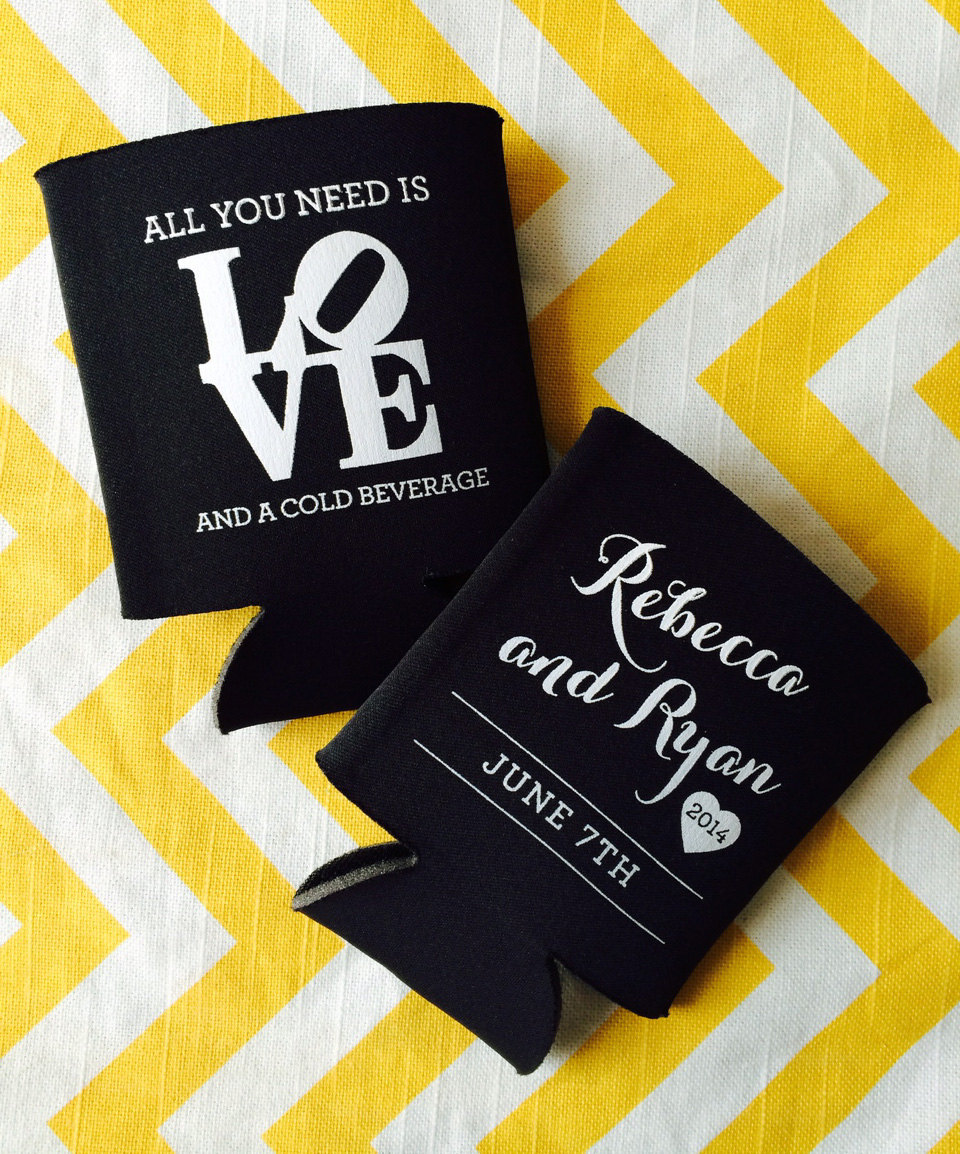 Asej philadelphia wedding koozie, philly love symbol koozie, all you need is  love and a cold beverage — rook design co.