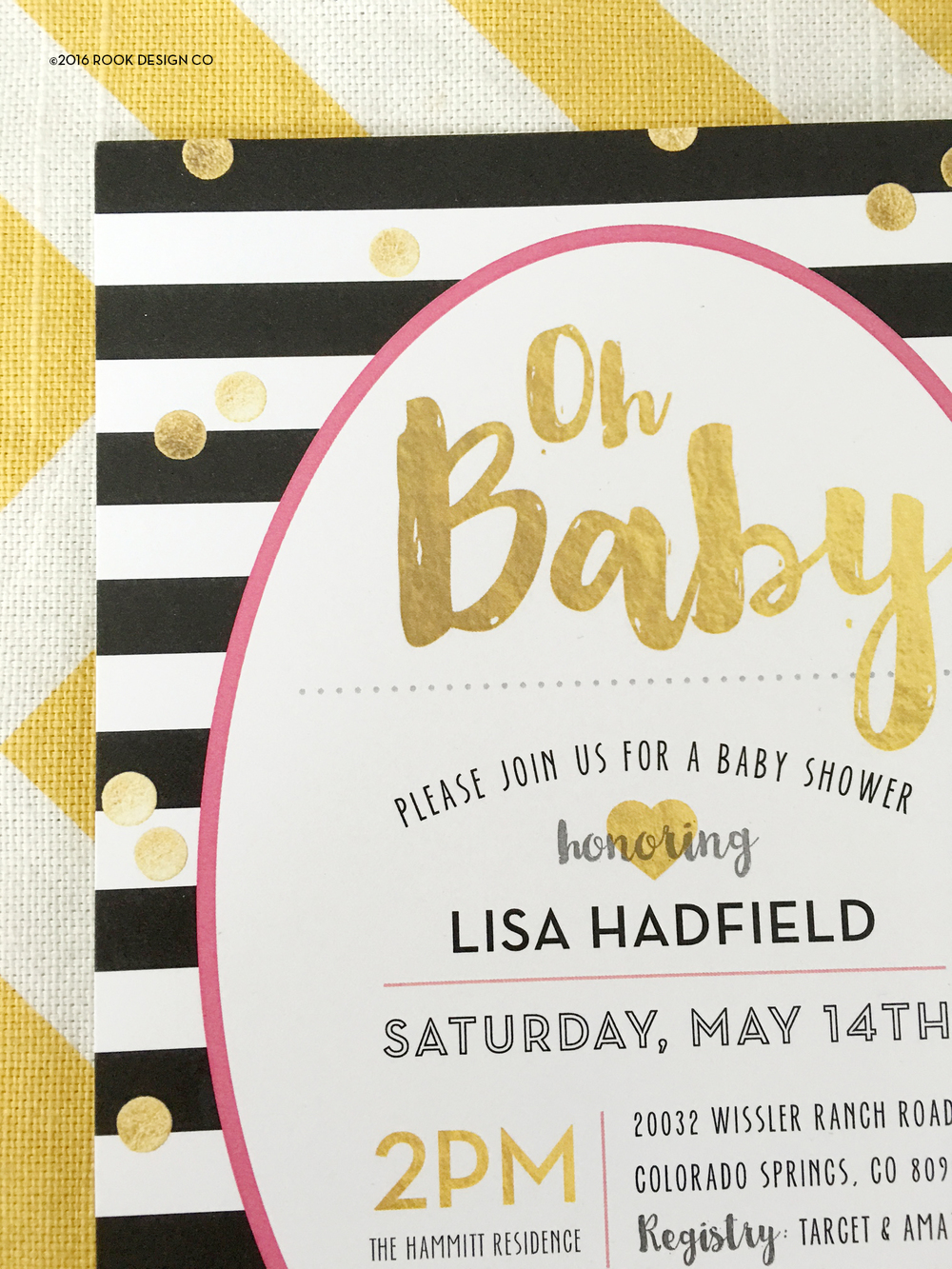 Kate spade inspired baby shower invites rook design co baby shower invitation this festive gold confetti black and white stripe felt so right paired with a hot pink accent for her darling little girl filmwisefo