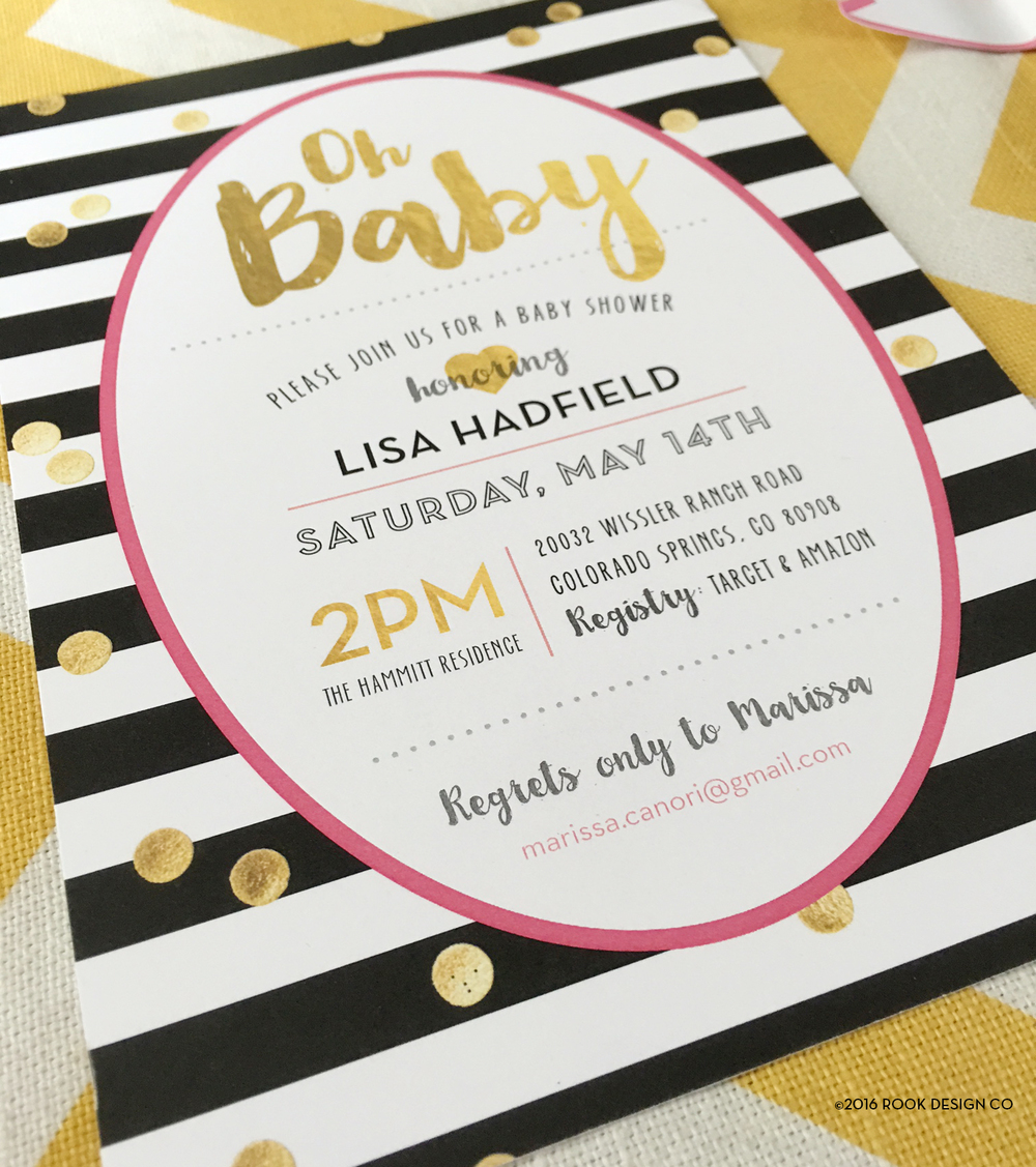Kate spade inspired baby shower invites rook design co along with a little black and white hot pink gold confetti mood board to kick off your monday filmwisefo