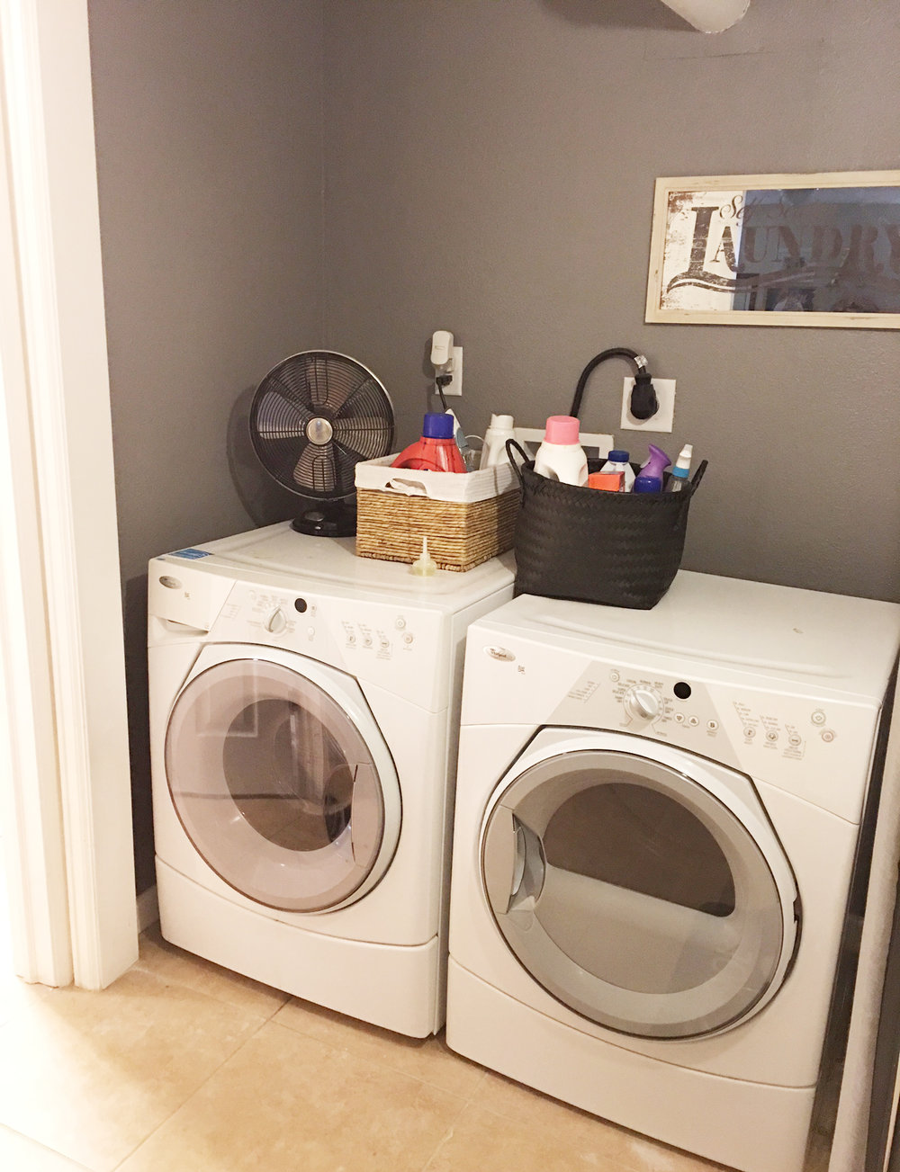 Laundry room makeover the plans rook design co my first major plan is to install a butcher block counter top not only will this save socks from disappearing on the side of the machines but it will give solutioingenieria Choice Image