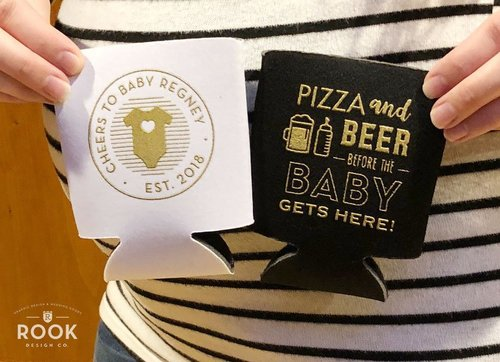 Pizza And Beer Before The Baby Gets Here Koozies Baby Shower