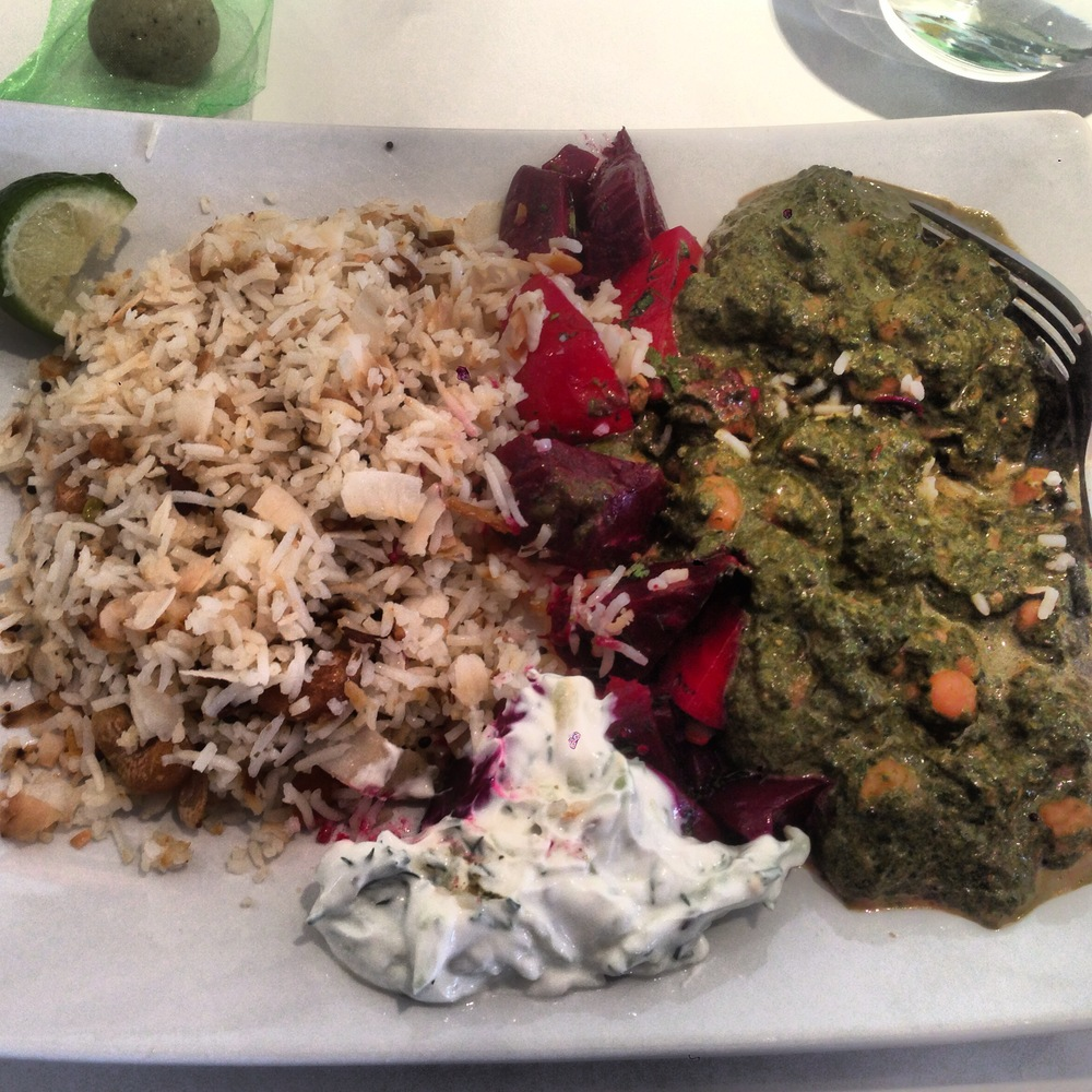 coconut basmati rice pilaf, raita, marinated herbed beets, channa saag