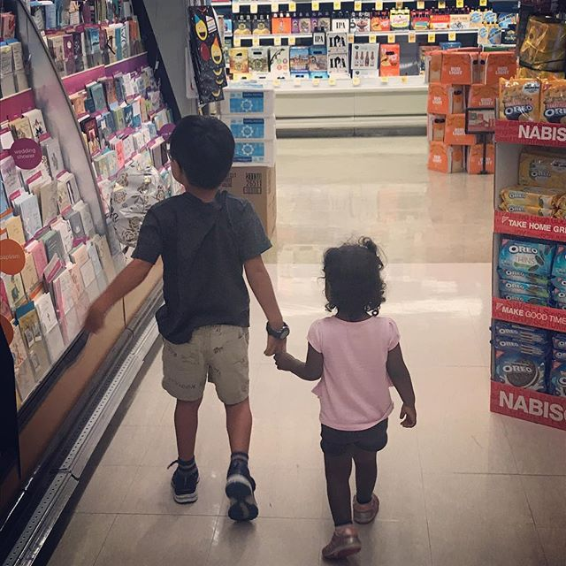 Mira starts crying at the Safeway after a long day. Jack rushes over, takes her hand, and she immediately calms down. Heart officially melts.  #siblinglove❤️ #photoaday2018