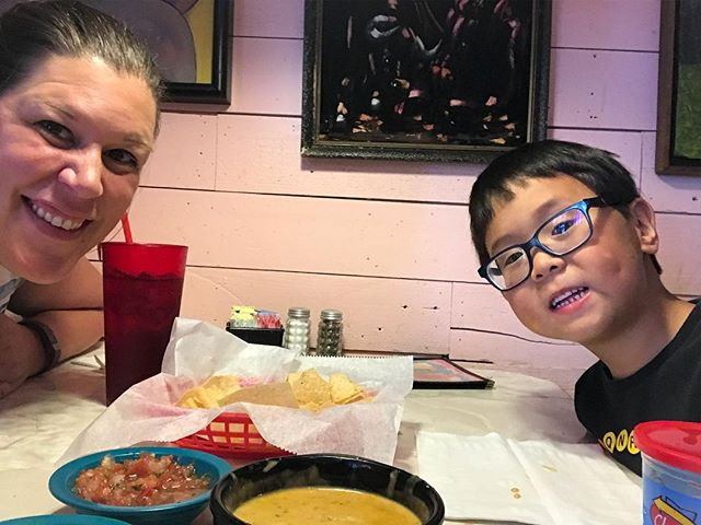 Mother-son lunch date. Conversation consisted of favorite Rescue Bots, favorite planet, what would you do if you had a dinosaur as a pet, and what would happen if we lived on the moon and then every person on the moon got their own robot. In other words? The perfect date!  #mothersondate  #foodforthought  #photoaday2018