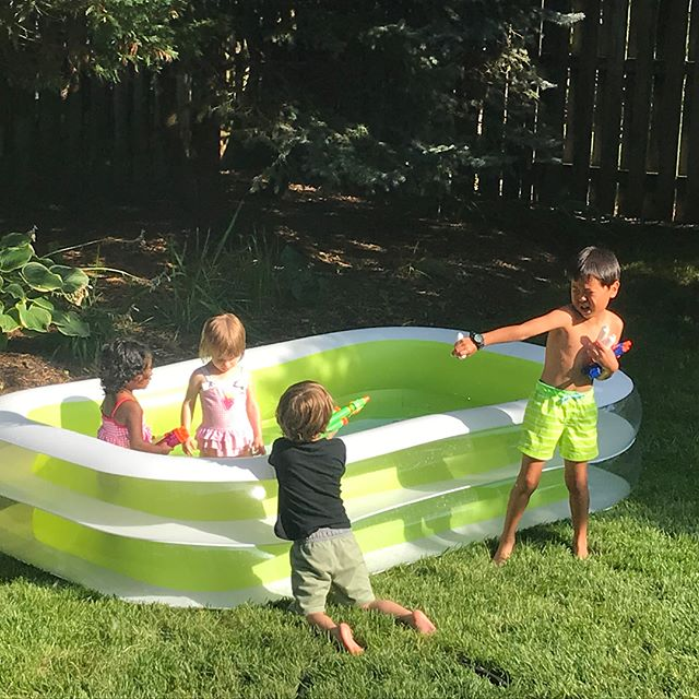 Nothing like a summer evening playing in the backyard and dinner with friends.  #summertimebliss  #lifeisgood  #photoaday2018