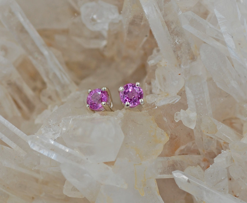 c80756a6d Pink Sapphire Stud Earrings — Imagine Jewelry Studio