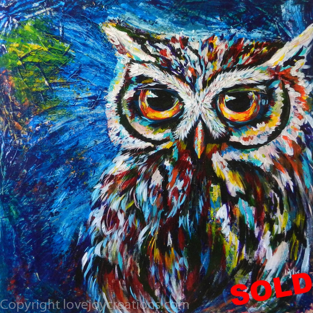 24x24 inches - Midnite Owl
