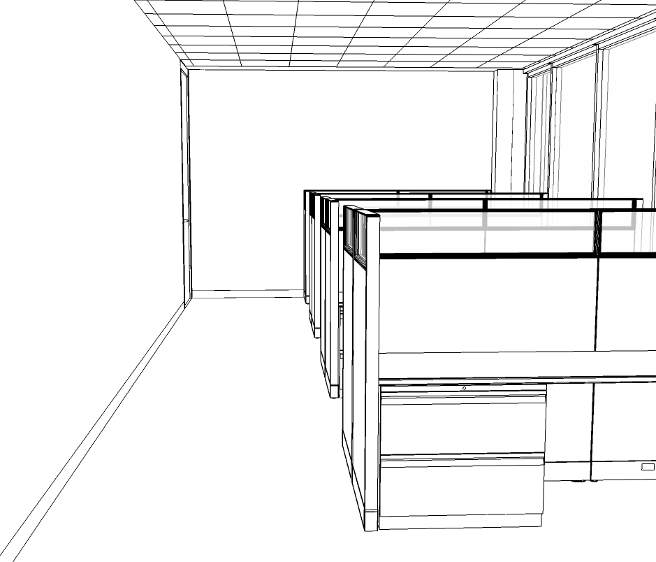 Pre-rendered sketch of cubicles