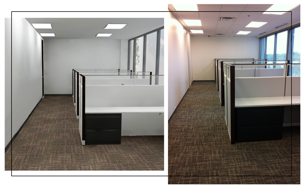 Cubicle view. Rendering (left) Photograph (right)
