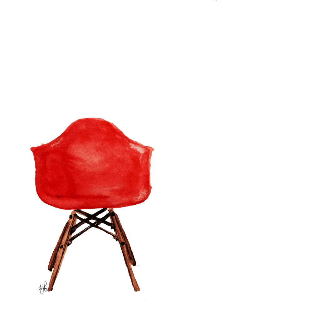 Eames Molded Plastic Chair. Watercolor and Pencil