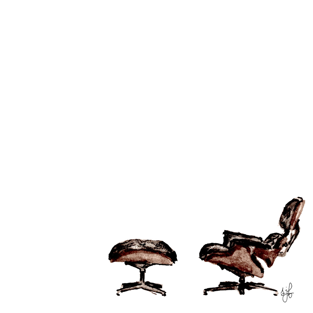 Eames Lounge Chair and Ottoman. Watercolor and Pencil