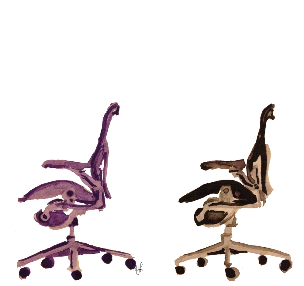 Aeron Chairs. Watercolor and pencil