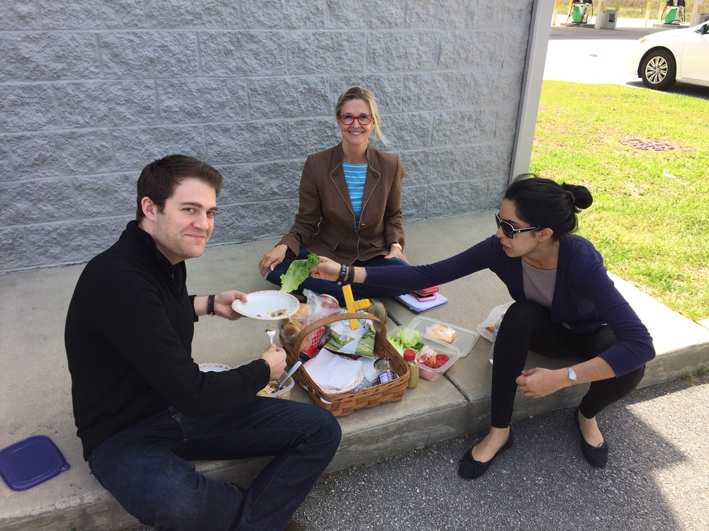 Picnic at the BP station with Kathleen Parker