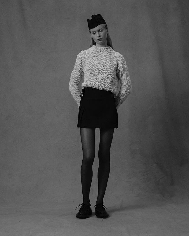 AW19  Hand spun hand knitted crew, paired with black super short Le Kilt.  Photography: Paul Phung Styling: Ianthe Wright  Art Direction: Bruce Usher Make Up: Vassilis Theotokis Hair: Roger Cho @paulphung @ianthewright @bruceusherstudio @hollieward_  @vass_theotokis @rogercho2000  #sustainable #sustainability #sustainablefashion