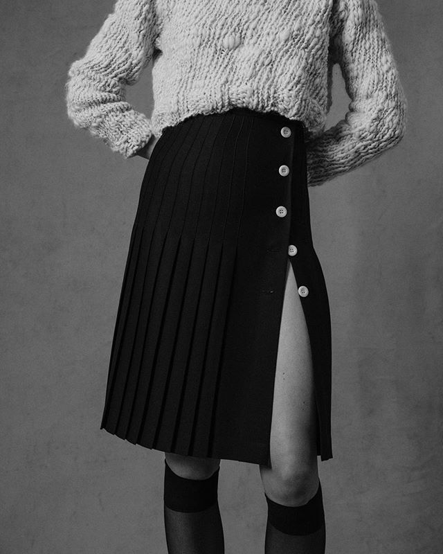 AW19  Black button up wool crepe Le Kilt,  paired with hand spun / hand knitted hand knitted textured crew  Spun by Lisa  Knitted by Holly  @vatn___ @hollieward_  Photography: Paul Phung Styling: Ianthe Wright  Art Direction: Bruce Usher Make Up: Vassilis Theotokis Hair: Roger Cho @paulphung @ianthewright @bruceusherstudio @hollieward_  @vass_theotokis @rogercho2000  #sustainable #sustainability #sustainablefashion