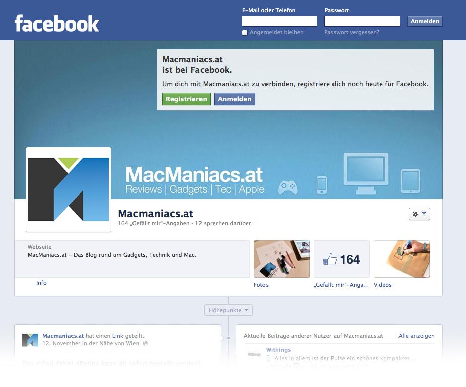 Facebook Seite von MACMANIACS.at, im neuen Corporate Design