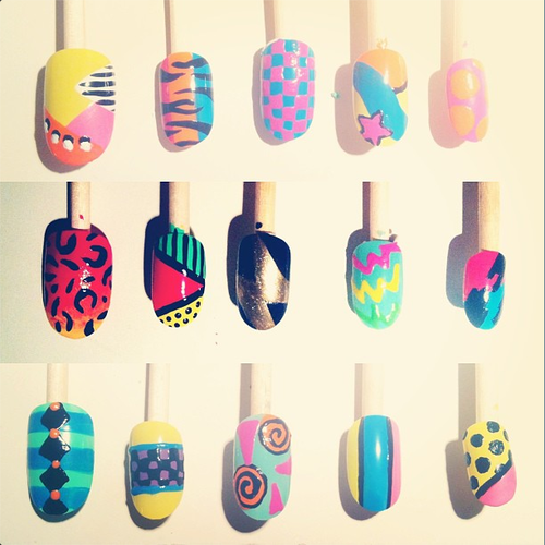 Series of hand-painted nail art designs commissioned by Nike to be used in a photo for t-shirt designs.