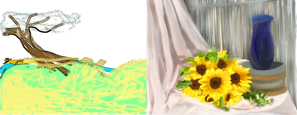 Left: first color sketch in Photoshop. Right: 8 months later
