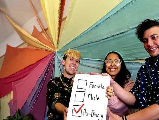 Santa Cruzans Jamie Joy, Iris Berrera and Sparrow Frost identify as non-binary. (Shmuel Thaler -- Santa Cruz Sentinel)
