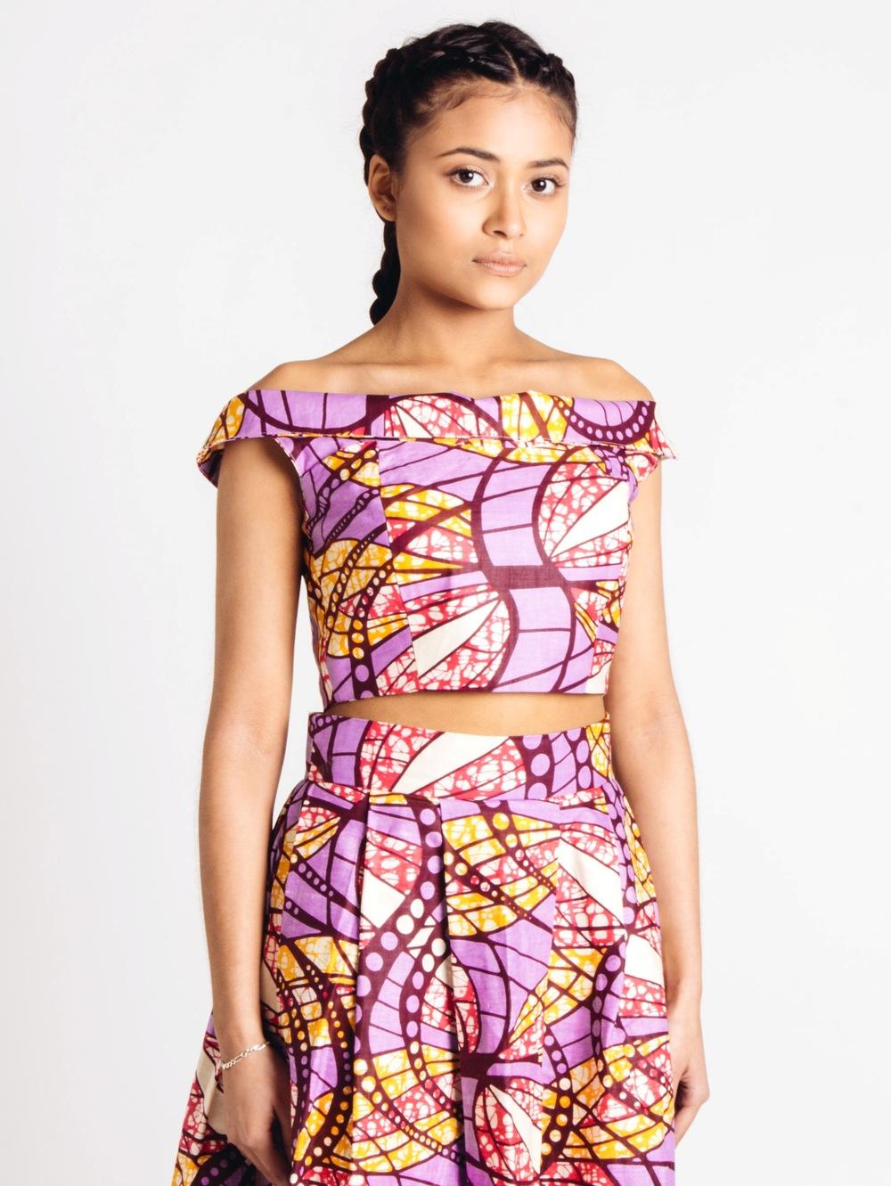 55dae890697c4 Off Shoulder African Print Bustier Top Lilac Pink Orange — Living in Light