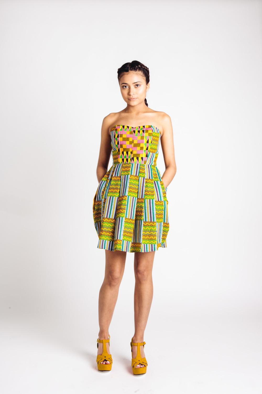 3911cbaba48f Mixed African Print Mini Dress Green Mustard Teal — Living in Light