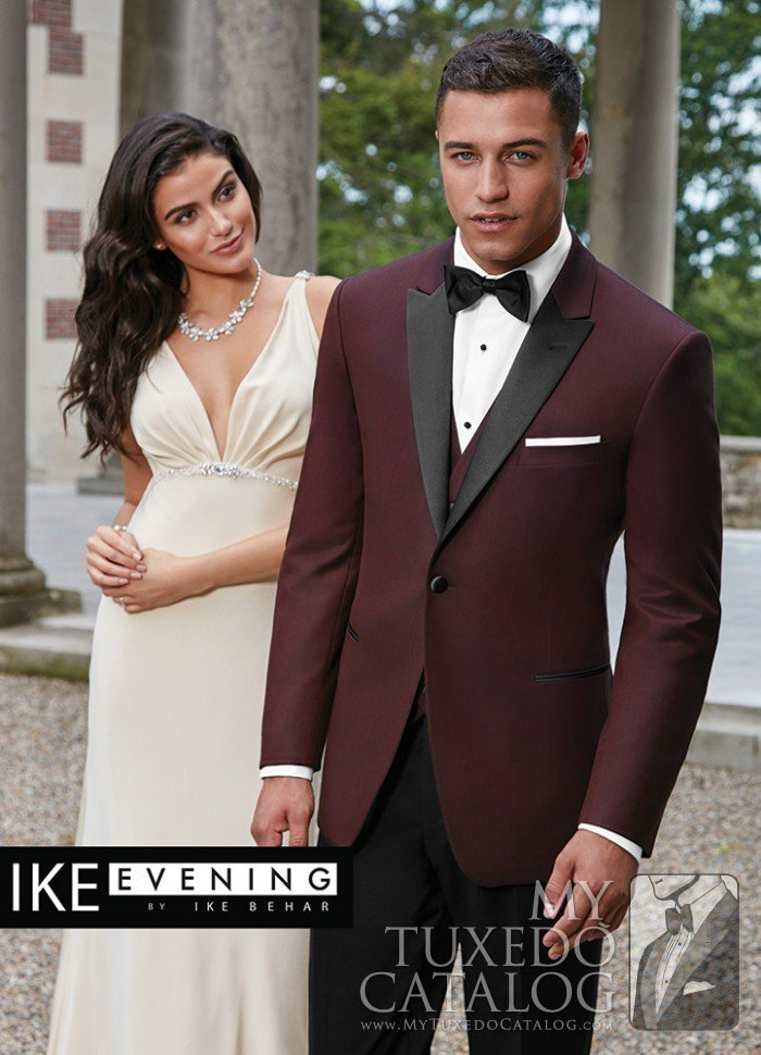 Burgundy Slim Fit Tuxedo with Black Lapel - Marbella — Tommy\'s Tuxedos®