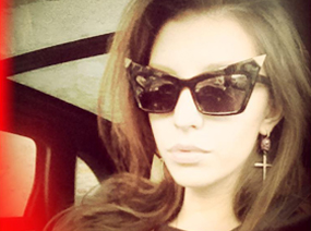 Moscow blogger and fashionista, Svetalna Karpekina wearing Figaru earrings