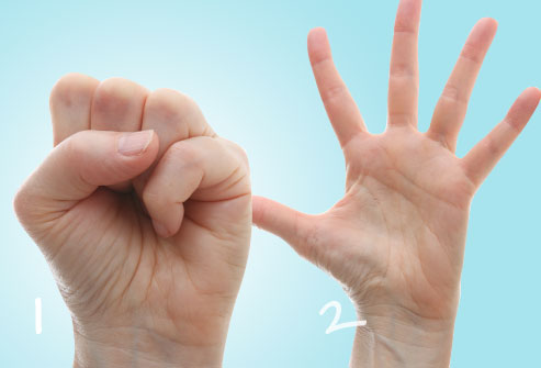 1. Simple -  stretch the hand and make a fist. Alternate several times with each hand