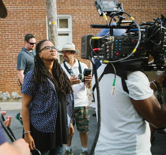 Director Ava DuVernay on the set of Selma.