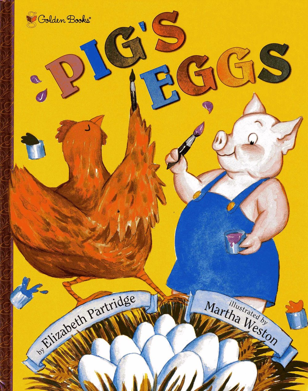 Pig's Eggs -  Pig and Hen love painting portraits of each other: