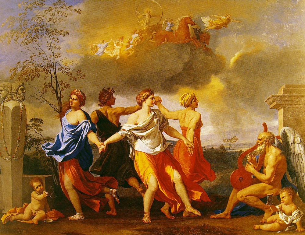 """The Dance to the Music of Time"" by Nicolas Poussin. One of three allegorical compositions devoted to the central issues of human existence which reflect the sophisticated and highly literary outlook of the man who commissioned them rather than Poussin's own thinking at the time."