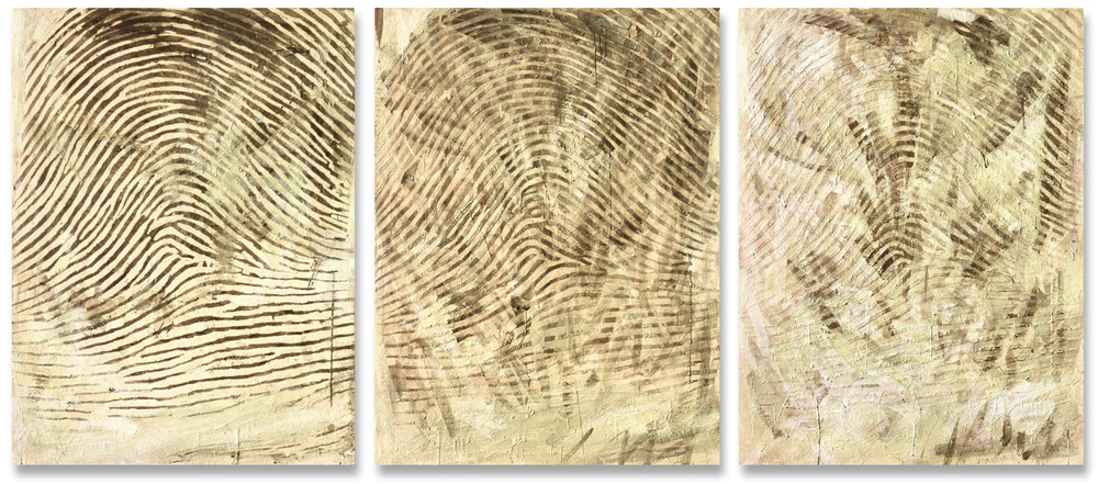 "Problems in Fingerprinting the Dead, 2002. Encaustic and coffee on canvas, three panels, 30"" x 42"" each panel."