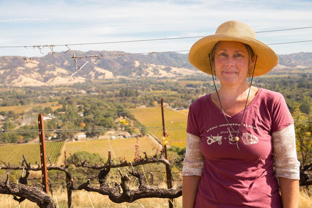 Sattie Clark in her hillside vineyard