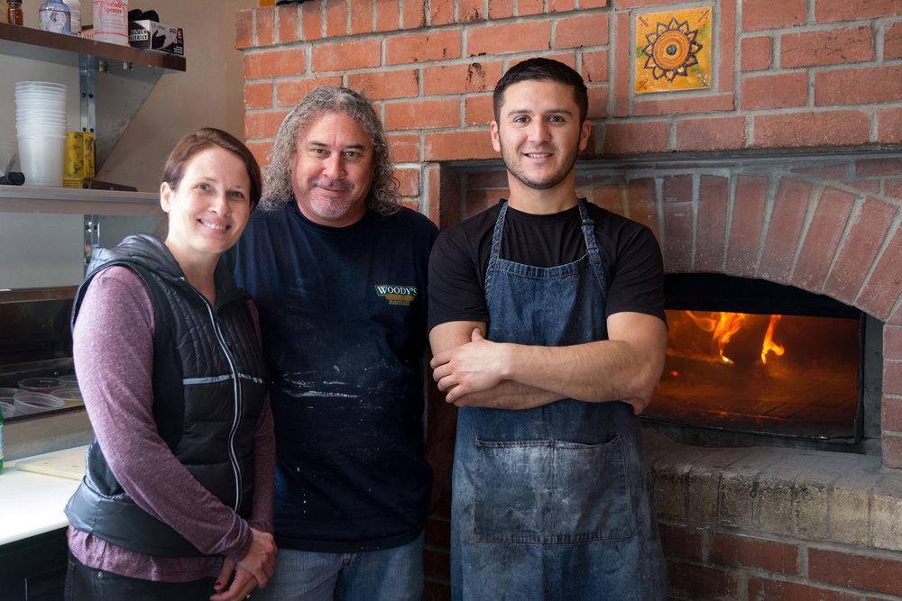 Server Gina Woodcock, bread baker Mike Wood, and Julian