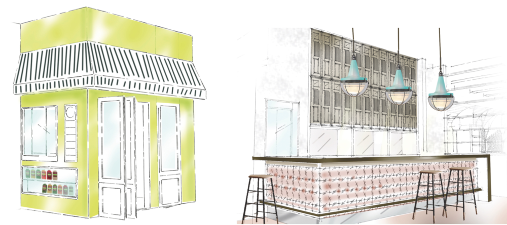 Renderings of a proposed restaurant in Rittenhouse Square