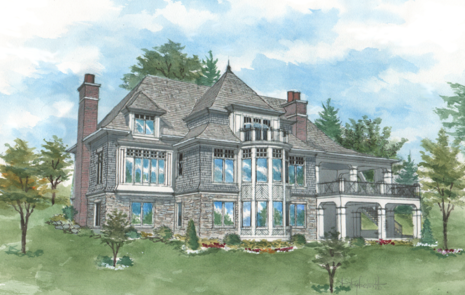 Typical pre-construction rendering of a big, fancy house.  It's a lot, but do you need it all?  We can help.