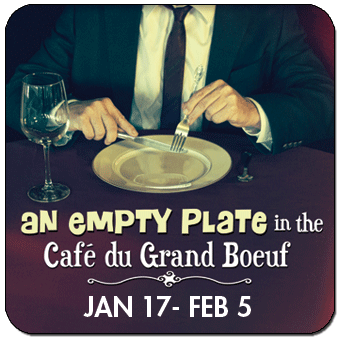 an empty plate in the cafe du bouef