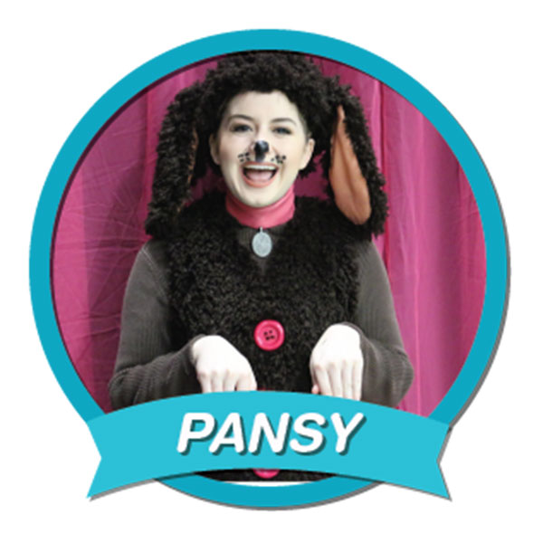 Pansy the Poodle  A small, young, brown toy poodle who is street-smart and world-curious; genuine, frisky, enthusiastic