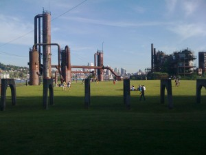 We wandered around Gasworks Park after a hot-dog dinner in Wallingford.