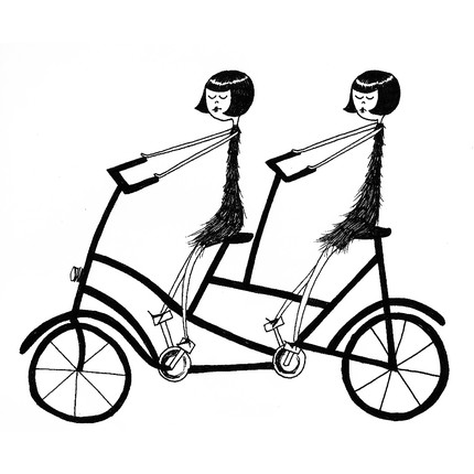 Eloise and Ramona ride their two-seated bicycle