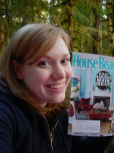 Me reading House Beautiful in the woods.