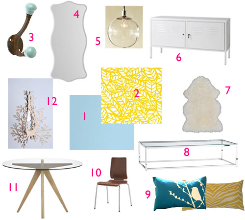 A custrom moodboard for Gabriell's living room, dining room, and entry.